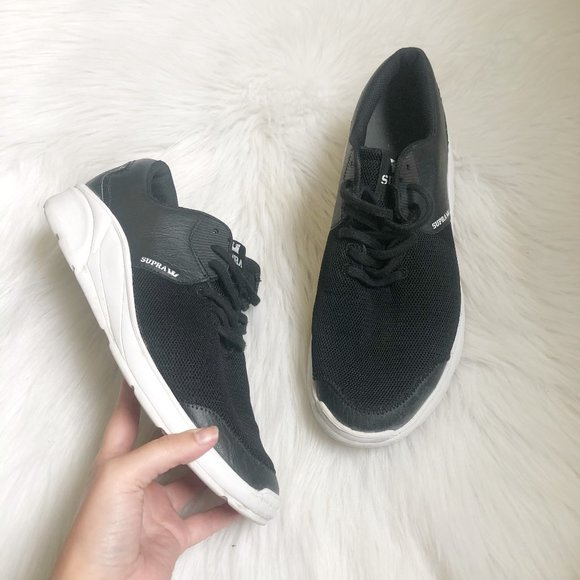 Noiz Black Leather Mesh Sneakers Sz 10